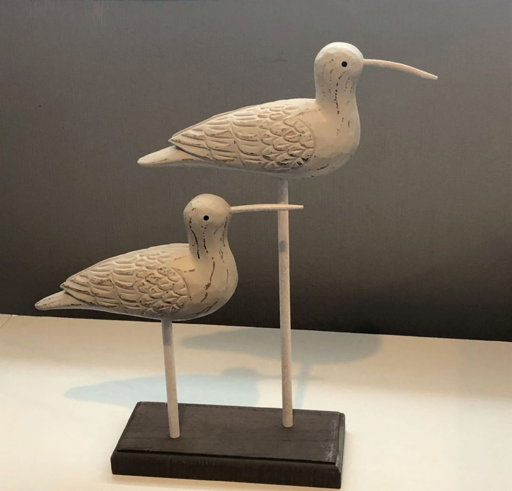 Double Wood Carved White Seabirds on Stand 33 cm